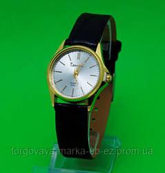 """Женские наручные часы с золотым корпусом и черным ремешком """"Саррия"""""""