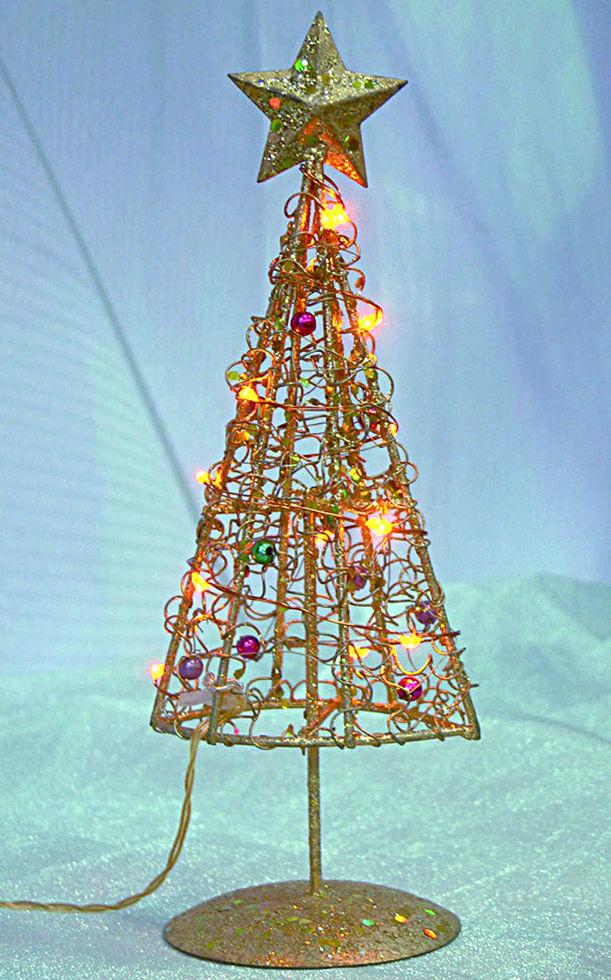 Елка новогодняя золотая на стол высота 32 см