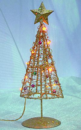 Елка новогодняя золотая на стол высота 32 см, фото 2