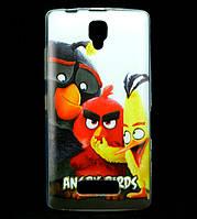 Чехол накладка для Lenovo A2010 силиконовый с рисунком, Angry Birds