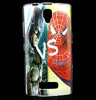 Чехол накладка для Lenovo A2010 силиконовый с рисунком, Batman vs Spiderman
