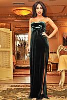 Вечернее бархатное платье в пол с глубоким разрезом и открытыми плечами ( 5 цветов )