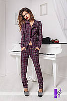 Женский классический костюм, жакет с застёжкой на пуговицу, брюки на поясе, с застёжкой на змейку