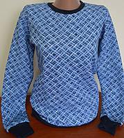 Теплый женский батник на флисе  сетка рабица синий  трехнитка S