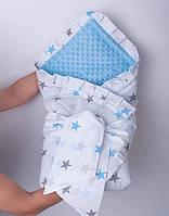 Конверт-плед голубого цвета со звездами плюшевый