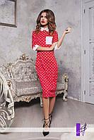 Женское платье с воротничком, манжетами и накладным карманом