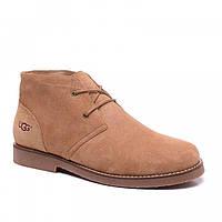 Зимние мужские ботинки UGG Leighton Cream  бежевые замша