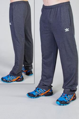 Спортивные штаны больших размеров Адидас (Adidas) мужские трикотажные темно серые баталы Украина