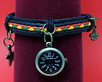 """Женские наручные часы-браслет на кожаном шнуре с обмоткой и подвесками """"Баррингтон"""", черный с цветным"""