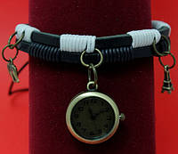 """Женские наручные часы-браслет на кожаных шнурах с подвесками и обмоткой """"Бингара"""", черный с белым"""