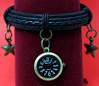 """Женские наручные часы-браслет на кожаных шнурах с подвесками """"Мейтленд"""", черный"""