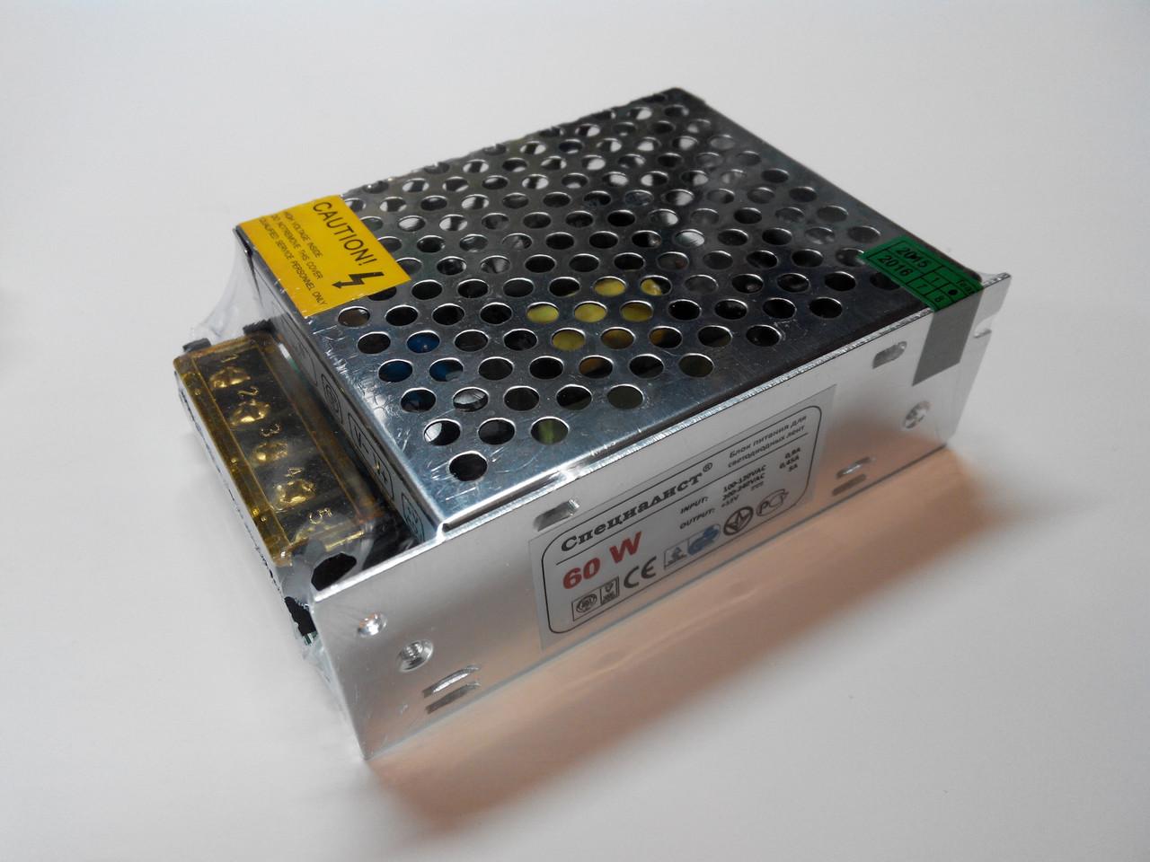 """Блок питания 12В 5А 60Вт mini """"Специалист"""" (для светодиодных лент, модулей, линеек), фото 1"""