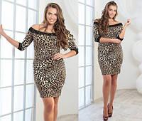 """Элегантное женское платье в больших размерах """"Трикотаж Лео Кружево""""  (42-1035)"""