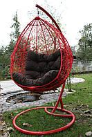 Підвісне крісло качеля кокон для дома и терассы. Красное. Ред  Нюська.