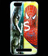 Чехол накладка для Lenovo A2020 Vibe C силиконовый с рисунком, Batman vs Spiderman