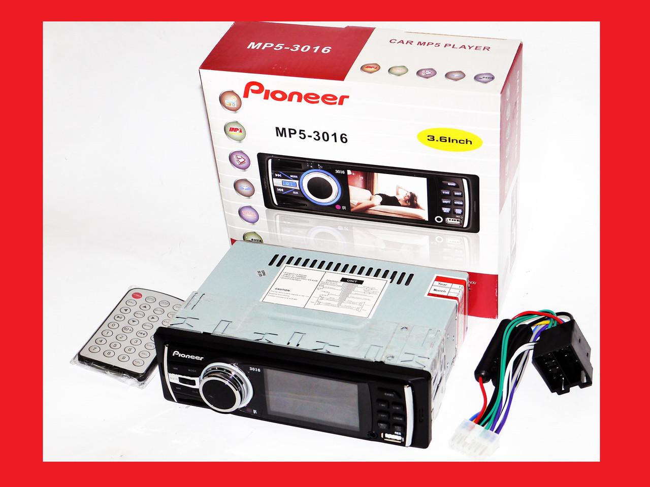"""Автомагнитола Pioneer 3016 - 3"""" Video экран -Divx/mp4/mp3 USB+SD"""