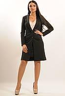 Женский классический кардиган (удлиненный пиджак) черный,пудра.