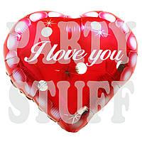 Шарик Сердце I Love You фольгированный, 44 см