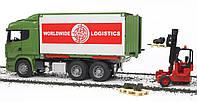 Игрушка BRUDER Фургон - контейнеровоз SCANIA с погрузчиком и паллетами 1:16 (03580)
