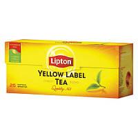 Чай Липтон Черный 25 шт. Чай черный в пакетиках Lipton Yellow Label 25 пакетиков. Можем продать в розницу., фото 1