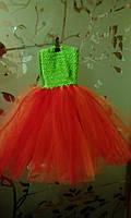 """Платье пышное детское """"Праздник"""", зелено-оранжевое """"ту-ту"""", с возможным отдельным оформлением по Вашему вкусу"""