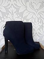 Женские ботинки. ботильоны в темно-синем цвете, из натуральной замши, синий цвет