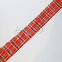 Лента клетчатая с люрексом 40 мм
