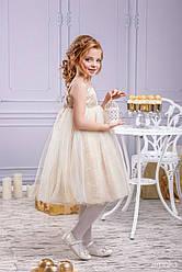 Нарядное детское платье фасон Кокетка ТМ Зиронька 4040-2 золотое