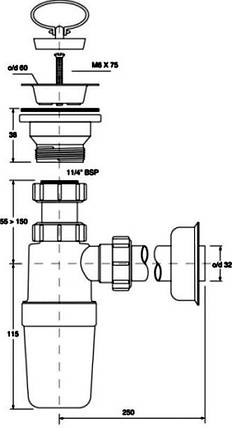Сифон для умивальника ТМ McAlpine HC1L - J, фото 2