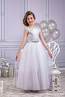 Нарядное детское платье Серебро, фасон Бальный