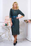 Модное зеленое платье из искусственной замши  Марис   44-50 размеры