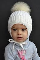 Зимняя шапка для девочки Снежинка Арктик, балабон из песца (ОГ 46/48, 48/50)