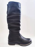Кожаные женские черные зимние модные удобные сапоги на низком ходу 40 Blesso