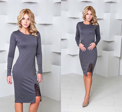 Женское платье, французский трикотаж+дорогое кружево, р-р S; M