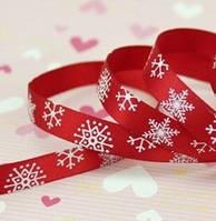 "Лента атласная красная ""снежинки"" 25 мм"