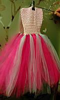 """Платье пышное детское """"Праздник"""", розово-белое, """"ту-ту"""", с возможным отдельным оформлением по Вашему вкусу"""