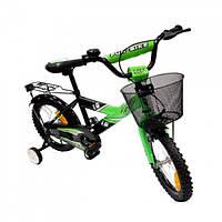 Велосипед детский 2-х колесный Alexis 16 с корзиной  зеленый