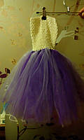 """Платье пышное детское """"Праздник"""",фиолетово-белое, """"ту-ту"""", с возможным отдельным оформлением по Вашему вкусу"""