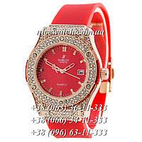 Кварцевые часы Hublot SSB-1012-0205 женские красные каучуковые со стразами