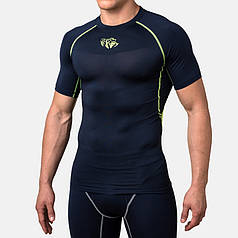 Компрессионная футболка Peresvit Air Motion Compression Short Sleeve T-Shirt Navy Flu Yellow