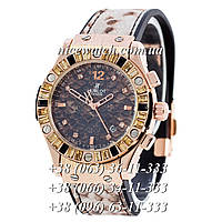 Кварцевые часы Hublot SSB-1012-0190 женские черные с принтовым циферблатом каучуковые со стразами с принтом