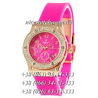 Кварцевые часы Hublot SSB-1012-0186 женские розовые с розовым циферблатом, каучуковые без стразов