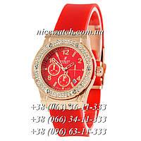 Кварцевые часы Hublot SSB-1012-0185 женские красные с красным циферблатом, каучуковые со стразами