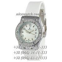Кварцевые часы Hublot SSB-1012-0183 женские белые с белым циферблатом, каучуковые со стразами