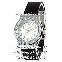 Кварцевые часы Hublot SSB-1012-0182 женские черные с белым циферблатом, каучуковые со стразами