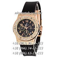 Кварцевые часы Hublot SSB-1012-0180  женские черные с белым циферблатом, каучуковые со стразами