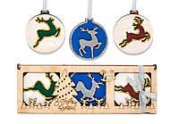"""Подвесные игрушки """"Новогодние шары с оленями"""" трёхслойные из фанеры"""