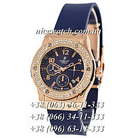 Кварцевые часы Hublot SSB-1012-0179  женские черные с белым циферблатом, каучуковые со стразами