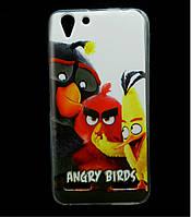 Чехол накладка для Lenovo A6020 Vibe K5 Plus силиконовый с рисунком, Angry Birds