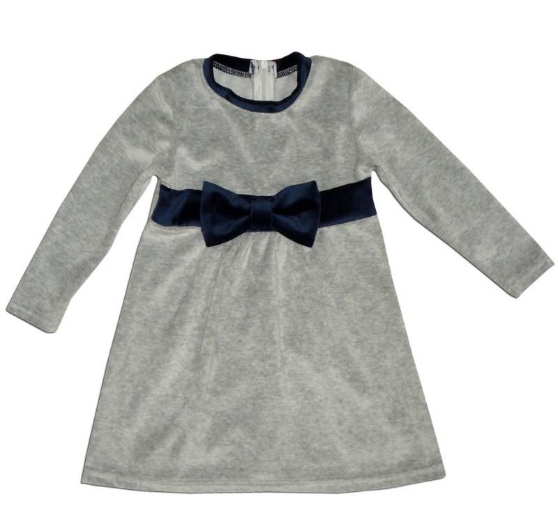 """Серое платье для девочки """"Бант"""", рост 98"""
